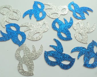 Mardi Gras Mask Confetti - (60 Pieces) Masquerade Party, Birthday Party, Fun Decor - Royal Blue and Silver Glitter Die Cut