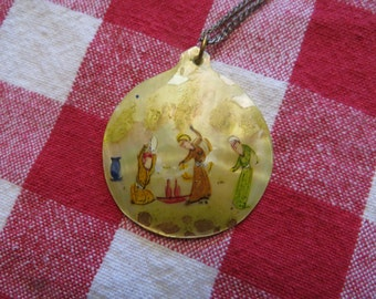 Vintage abalone mother of pearl pendant necklace w/ free ship