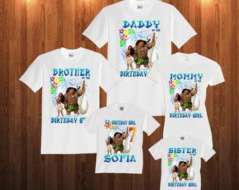 Moana Birthday shirt, Long Sleeve and Short Sleeve Shirt, Custom personalized t-shirts for all family