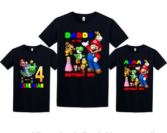 Super Mario Birthday Shirt, Super Mario Custom Shirt, Personalized Mario Shirt, Mario family shirts, Birthday t-shirt for girls and boys