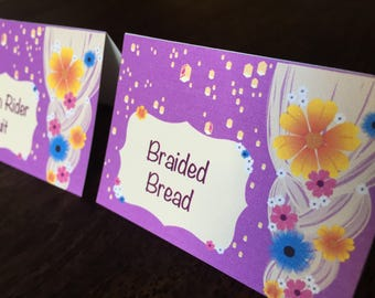 Personalized Tangled Food Tent Cards, Food labels, Place Cards, Rapunzel Party, Tangled Party