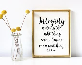 integrity print, INSTANT DOWNLOAD, CS Lewis quote, printable wall art, inspirational print, motivational sign, cs lewis art, integrity quote