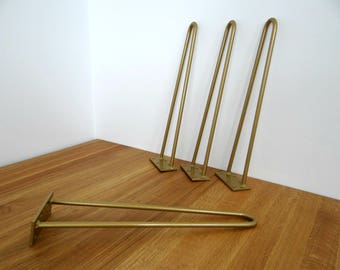 "Gold Hairpin Legs. 3/8"" 2 rod. Steel Table Hairpin Legs. 4"", 6"", 12"", 16"", 28"" and more"