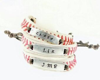 Baseball Bracelet, Stamped Baseball Bracelet, Name, Number, Team, Baseball Bracelets, Custom Baseball Bracelet, Real Baseball Bracelet