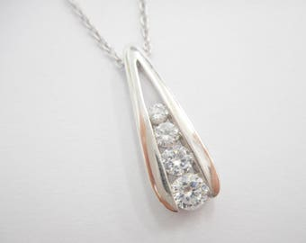 "Sterling Necklace, Channel Set, Cubic Zirconia, Sterling Silver Round Cubic Zirconia Pendant Necklace 18"" - 20"" #2869"