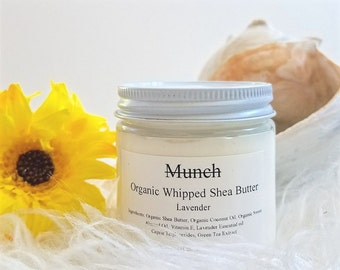 Organic Whipped Shea Butter | with Green Tea Extract | 4 oz