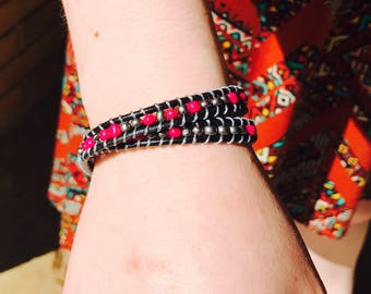 Pink wrap around bracelet or ankle bracelet