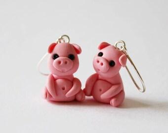 Cute pig earrings, handsculpted polymer clay earrings, statement earrings, nickel free earrings, Christmas present, pink pig earrings