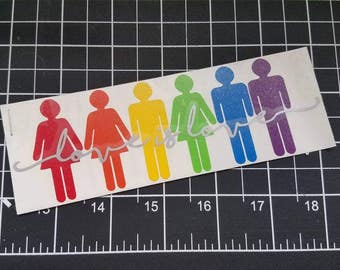 "LGBTQ rainbow ""love is love"" Vinyl Decal"
