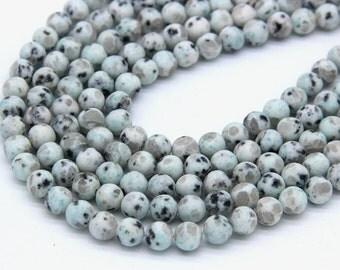 Matte Sesame Jasper Beads 6mm 8mm Kiwi Jasper Gemstones Matte Mala Beads Light Green Black Spot Beads Matte Green Jewelry making Supplies