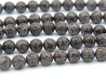 Chinese Snowflake Jasper Beads 6mm 8mm 10mm Natural Brown Beads Brown Snowflake Beads Brown Gemstone Beads Brown Mala Beads Supplies