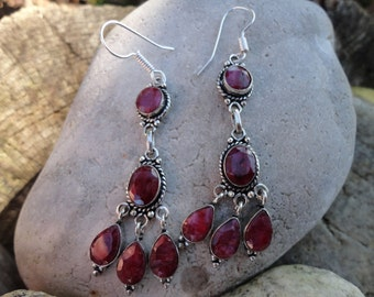 """Red Queen"" earrings, Ruby Earrings"