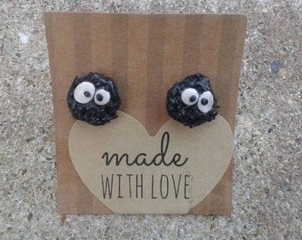 Studio Ghibli spirited away soot sprite earrings studs