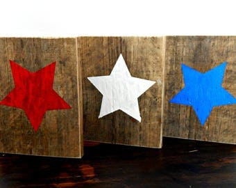 USA Patriotic Stars America Fourth of July 4th Shelf Art Reclaimed Wood Rustic Decor Independence Day Farmhouse Decor