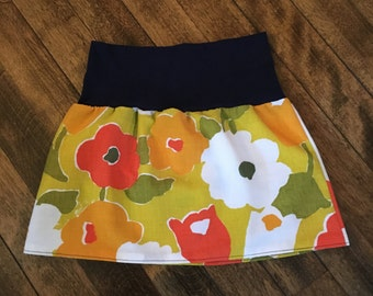 Vintage Fall Floral and Navy Skirt