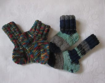 2 Pack dual Pack baby socks hand made foot approx. 11.5 + 12 cm size 18/19 socks wool