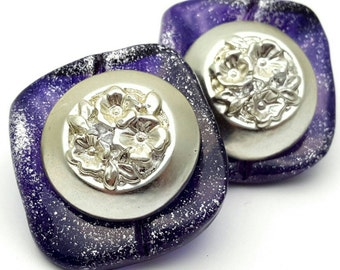 Purple and Silver tone Square Large Stud Earrings Vintage from the 80s Plastic with paint speckles