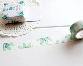 Succulents Washi Tape, Leaf stickers,  Nature Plants Leaf Tape, Green Washi Tape, Watercolour Tape, Planner Tape (NT-149)