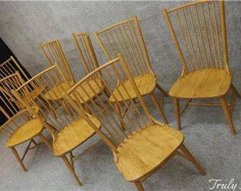 8 French Country Farm House Chairs Hardwood Maple Solid Sturdy