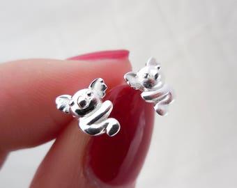 925 Sterling Silver Koala Stud Earrings, Koala Earrings, Koala Studs, Koala Jewelry, Australian Animals, Koala Bear, Aussie Animal Jewelry