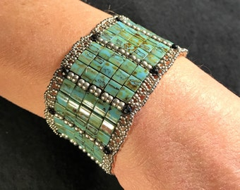 NO 151 Hand Beaded Crystal and Glass Bracelet
