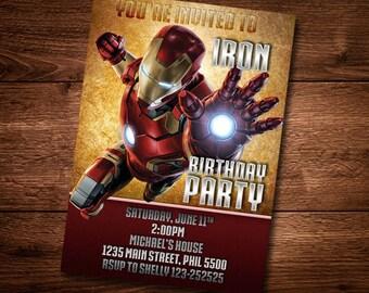 Iron Man Birthday Card, Customized Birthday Theme, Birthday Invite, Card Template, DIY, PSD, Iron Man Card Template, Digital Download