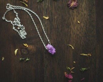 Fuscia druzy agate necklace | Druzy necklace | Agate necklace |