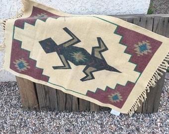 Vintage Aztec Iguana Handmade Mexican Rug • 1980's Mexico • Handmade Southwestern Rug