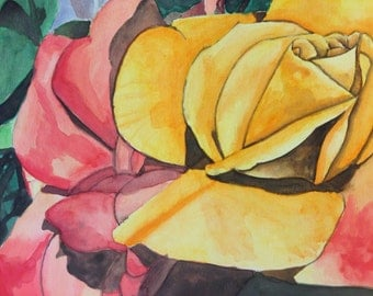 Yellow Rose Original Watercolor Painting