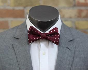 Maroon and White Polka Dot Silk Bow Tie