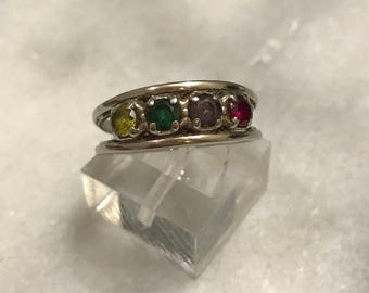Size 7.5, Sterling silver handmade ring, solid 925 silver band with sapphire, amethyst, peridot and citrine, stamped sterling