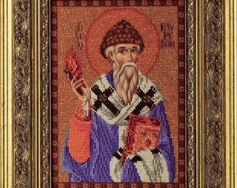 "Bead Embroidery Kit DIY Icon Saint Spyridon Bishop of Trimythous 7.4""x10.6"" Color Canvas Bead Set Guide Beginners"