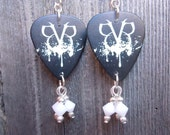 Black Veil Brides Logo Guitar Pick Earrings with White Crystals