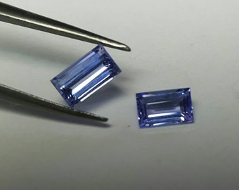 2 piece 0.80ct total rectangle natural Tanzanite 5.5x3.2 & 5.1x3.2