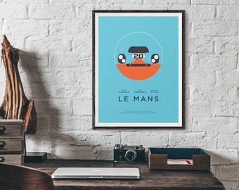 Le Mans Movie Gulf Minimal Retro Poster Art Print