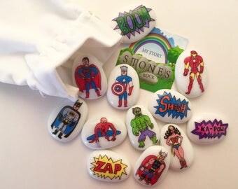Superheroes, Story Stones, Set, Sack, Story Telling