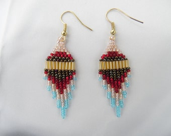 Arizona Winter - Native American style medium-short dangle earrings