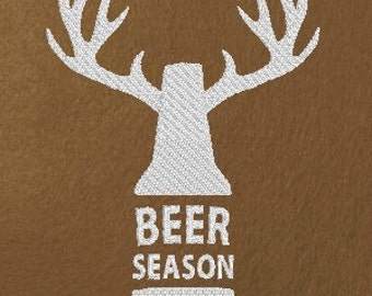 Funny Machine Embroidery Design Beer Season Deer Season Hunting Original Digital File Instant Download 5x7 Hoop
