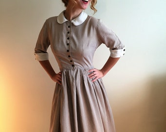Vintage 1950's Brown and White Gingham Cotton Daydress