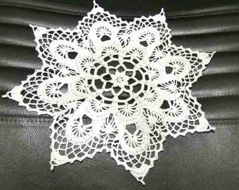 White crochet doily 3D 13.4 inches