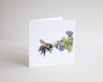 Bee Card, bumble bee card, blank card, greetings card, animal card, honey bee card