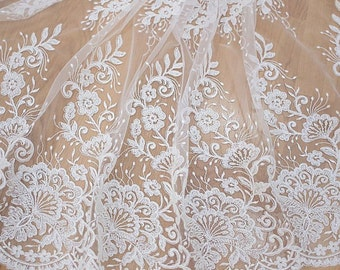 Beaded Lace Fabric Floral Tulle Lace Fabric Off White Flowers Embroidered Lace Fabric Bridal Lace Wedding Dress Fabric Costume Supplies