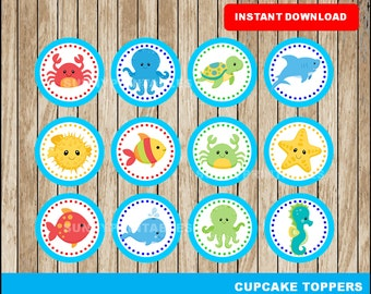 Under The Sea cupcakes toppers; printable Under The Sea toppers, Under The Sea party toppers instant download