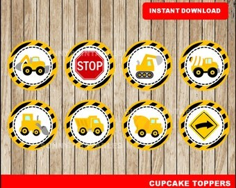 Construction cupcakes toppers; printable Construction toppers, Construction party toppers instant download