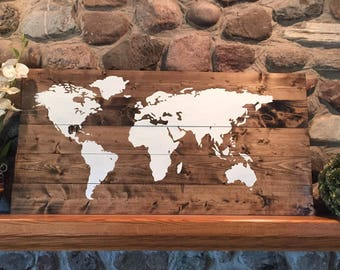 World map/rustic world map/rustic wall hanging/ hand painted / hand made/barn wood /pallet wood/ rustic
