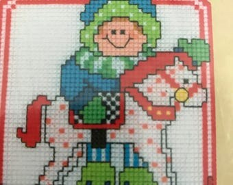 Craftway Santa's Helpers plastic canvas counted cross stitch ornament kit set of 6