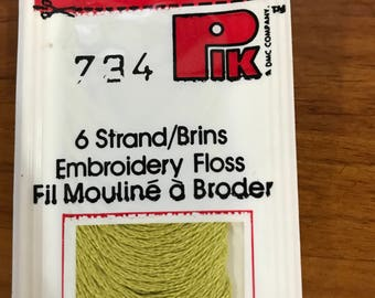 Vintage DMC, Embroidery floss, Pik Corp #734, hard to find