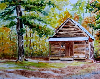 Conn's Creek School original watercolor painting historic building 11x15