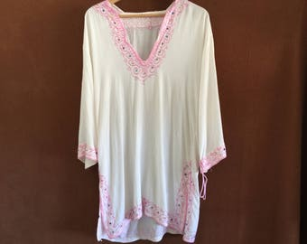 Vintage Hippie white and pink top from India