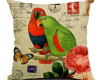 European Stamp Series Bird Print Decorative Pillow Cover - Eclectus Pair